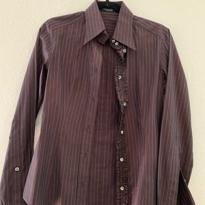 Dolce & Gabbana brown pinstripe fitted button down